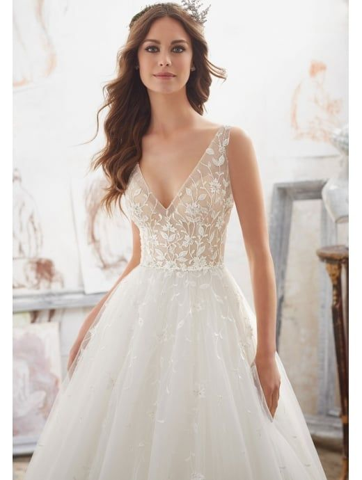 Mori Lee 5515 Matilda Floral Detailed Ball Gown Style Bridal Dress ...