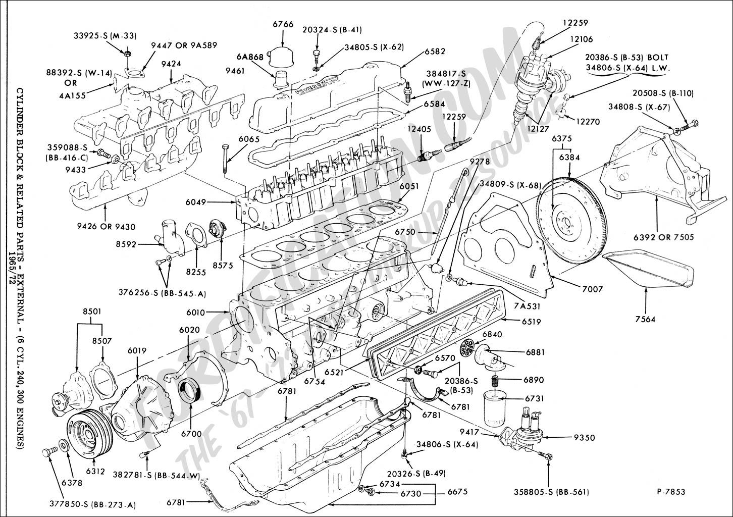 Ford 4 9l 300 Cubic Inch Inline 6 Cylinder Ford Truck Ford F150 Diagram Design