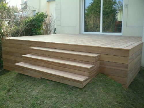 Terrasse sur poteaux avec escalier en bois Health Pinterest