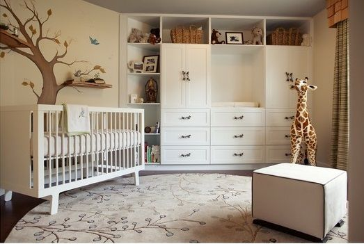 Beautiful Modern Interior Theme with artistically painted tree and integrated shelf