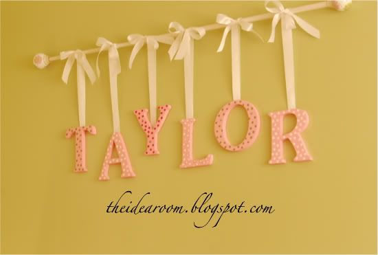 Name wall hanging using a curtain rod