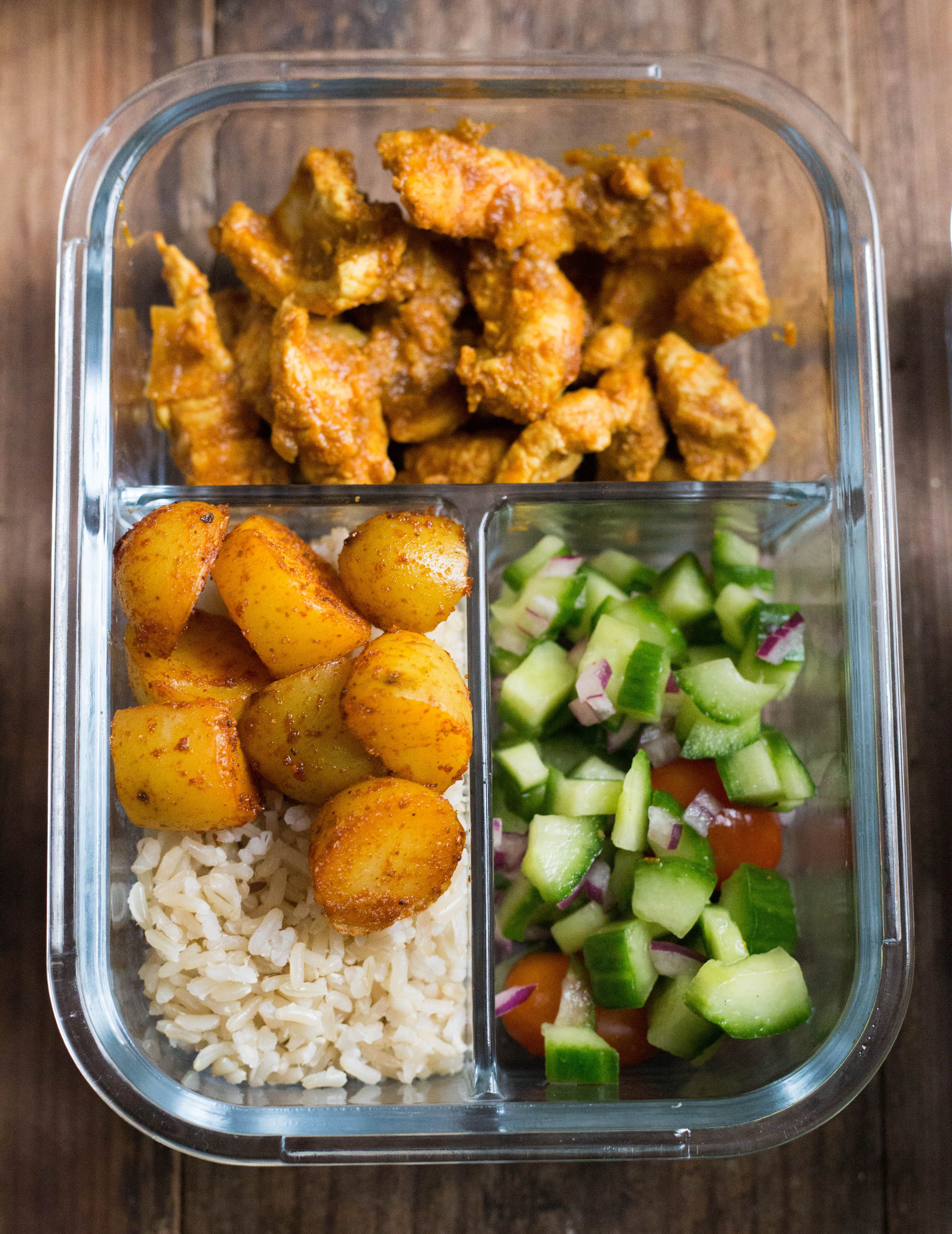 Indian Chicken Cumin Rice And Masala Potatoes Meal Prep Tiffin And Tea Recipe Chicken Meal Prep Meals Indian Food Recipes
