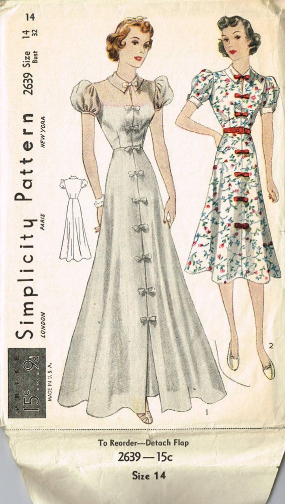 Reduced VINTAGE Simplicity 1930s Junior Miss Daytime or PARTY DRESS ...