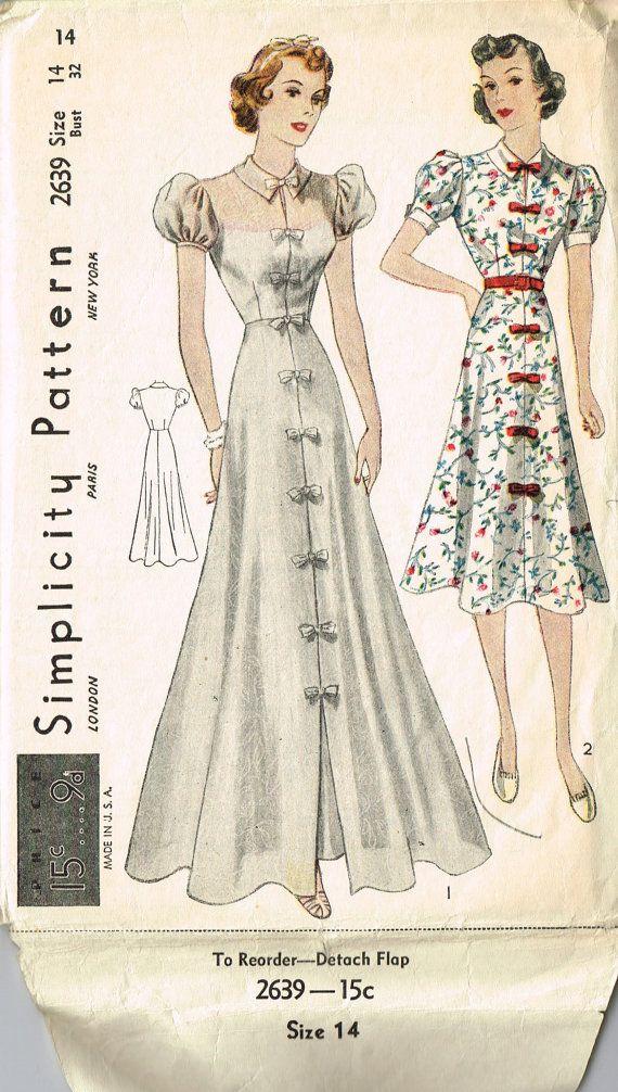 VINTAGE Simplicity 1930s Junior Miss Daytime or PARTY DRESS Pattern Elegant Size 14 Length Options 2639