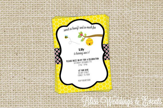 Sale bumble bee birthday party invitation digital file or printed sale bumble bee birthday party invitation digital file or printed invitations printable or professionally filmwisefo Images