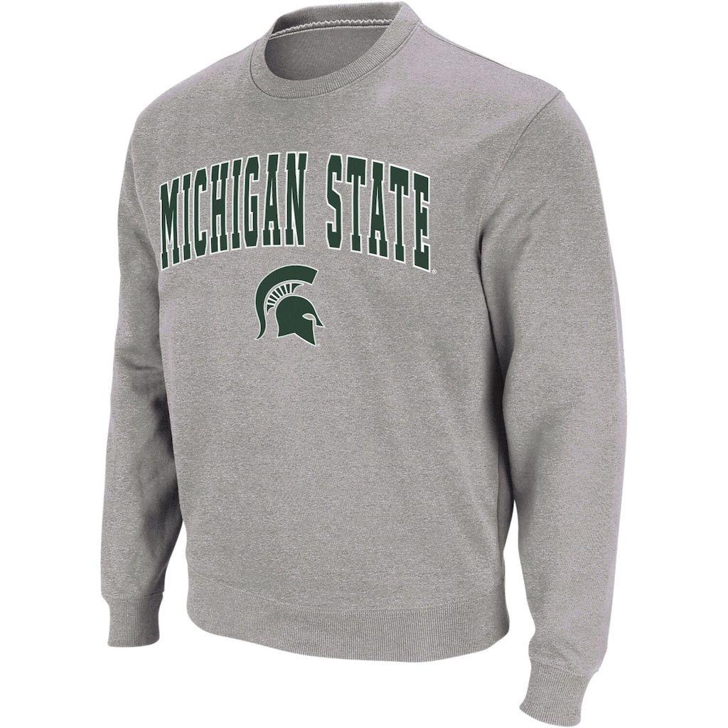 Men S Colosseum Heather Gray Michigan State Spartans Arch Logo Crew Neck Sweatshirt Sweatshirts Pullover Sweatshirt Long Sleeve Tshirt Men [ 1024 x 1024 Pixel ]
