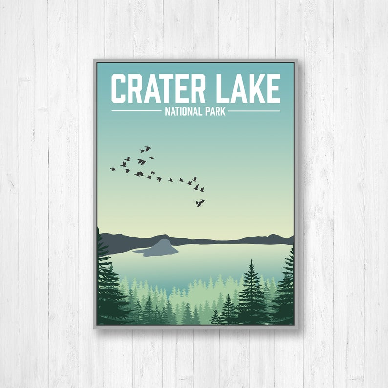 Crater Lake National Park Modern Print, Crater Lake Oregon Print, Crater Lake Poster, Crater Lake National Park Illustration, Oregon Poster #craterlakenationalpark