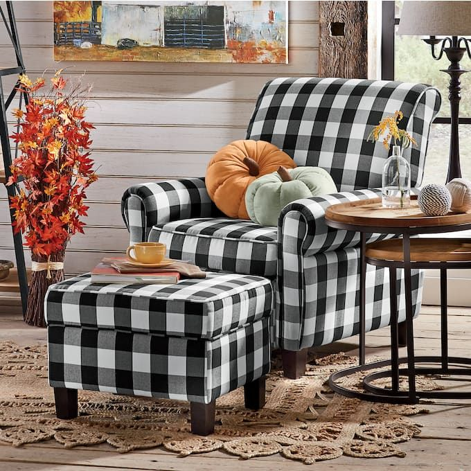 Best Buffalo Check Armchair And Ottoman In 2020 Chair 400 x 300