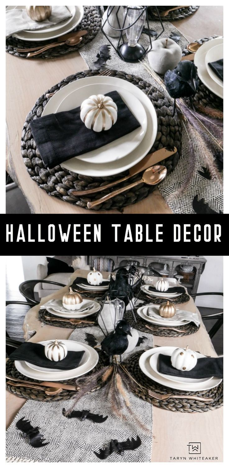 Black and White Halloween Table Decorations - Taryn Whiteaker