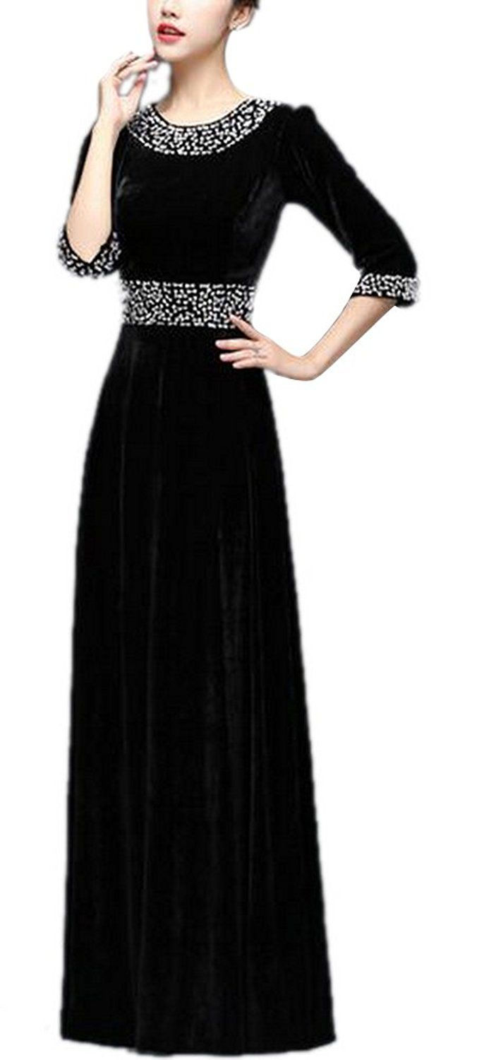 Womenus beading long sleeve velvet stretchy evening gown maxi dress