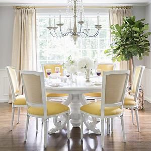 Abby Larson Of Style Me Prettys Gorgeous Dining Room As Featured In Domino Those Yellow Louis XIV Chairs Add Such A Fun Pop Color To The Space