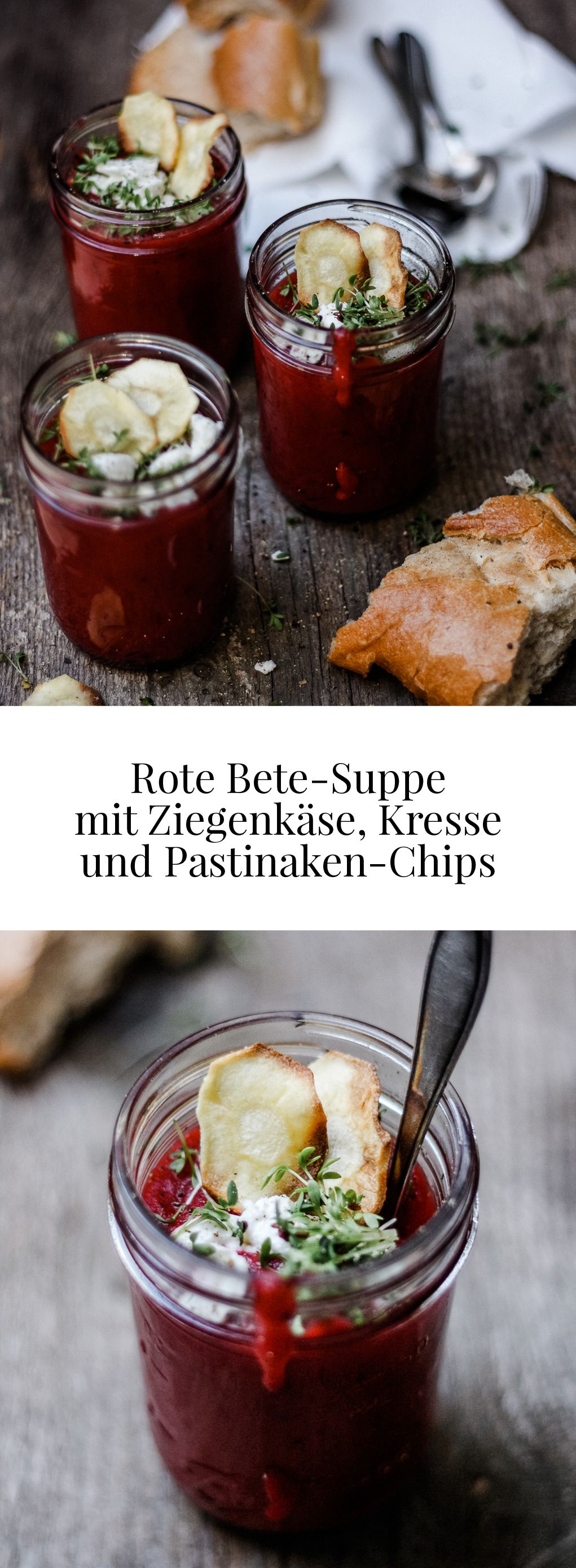 rote bete suppe mit ziegenk se kresse und pastinaken chips blogger rezepte die besten. Black Bedroom Furniture Sets. Home Design Ideas