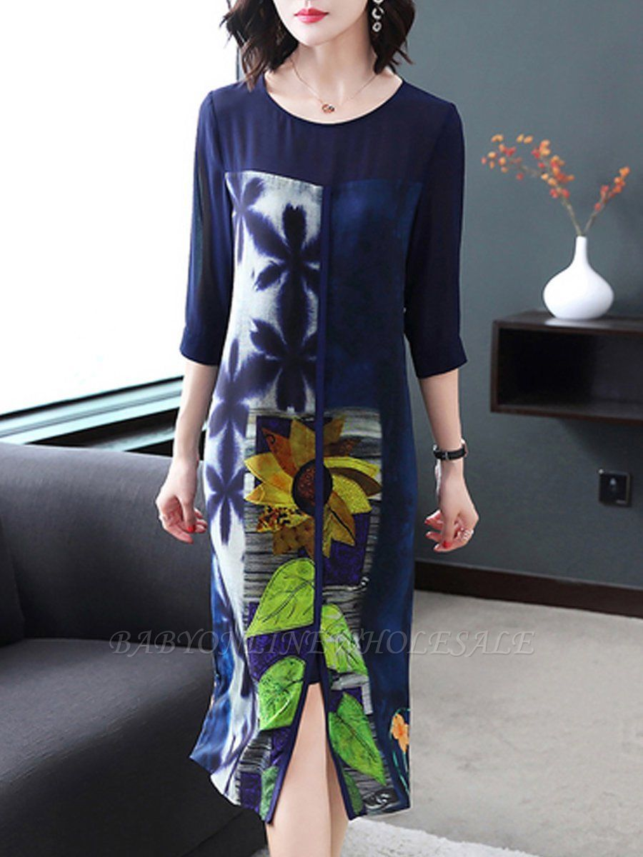 Plus Size Dark Blue Midi Dress Shift Daytime Dress 3 4 Sleeve Casual Cotton Printed Floral Dress Www Bab Elegant Dresses Casual Cotton Dress Midi Shift Dress [ 1200 x 900 Pixel ]
