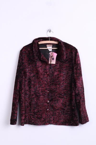 Kim Co Womens L Velvet Blazer Jacket Bordeaux Black Single Breasted Retrospectclothes