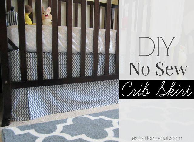 Diy Adjustable Crib Skirt Easy No Sew Required Cribs Crib Skirts Diy
