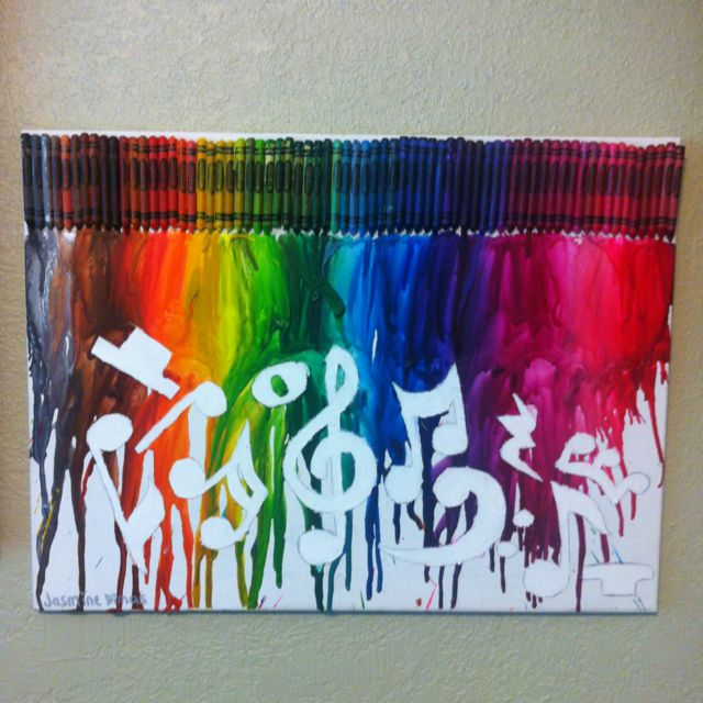 Melted crayon art music is my life for Crayon diy canvas