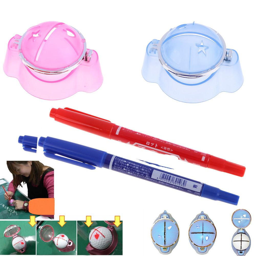 Plastic Golf Ball Liner Marker Template Drawing Alignment Tool Pen