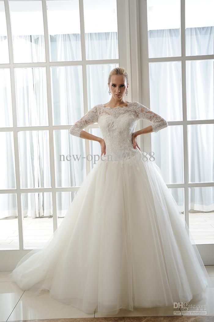 NEW Sexy Plus Size Wedding Dresses A Line Bateau 3 4 Long Sleeve Lace Embroidery Dress Gowns
