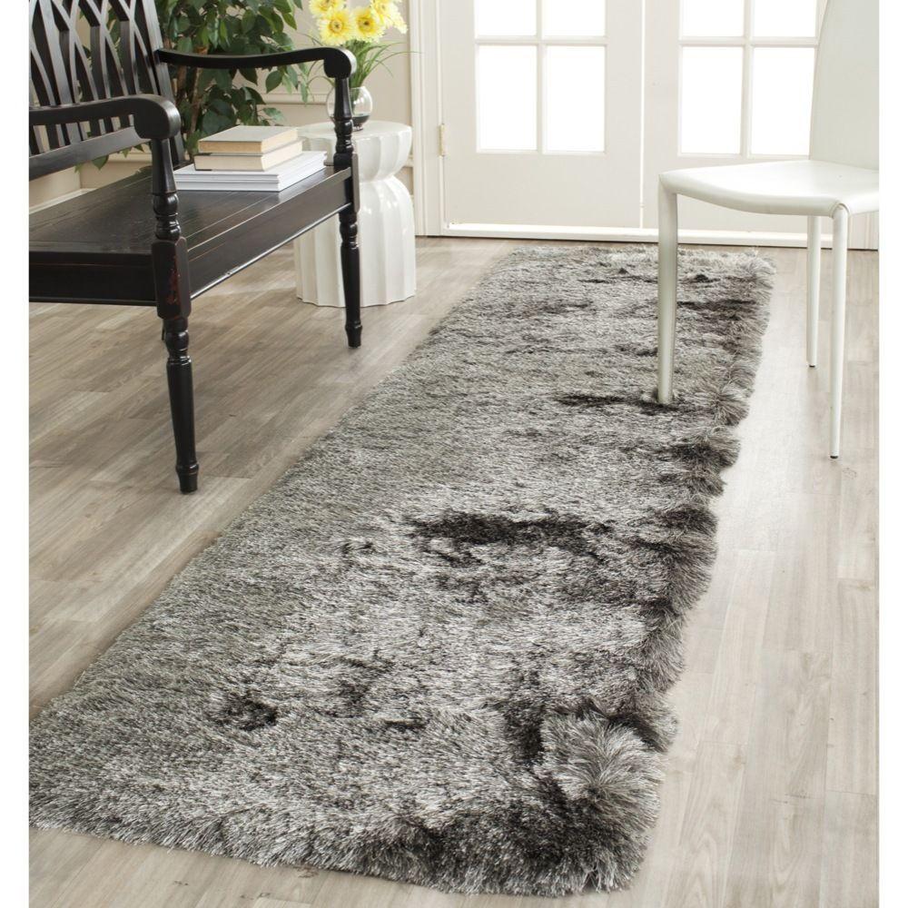 Safavieh Handmade Silken Paris Shag Silver Polyester Runner (2'3 x 10') (SG511-7575-210), Size 2' x 10'
