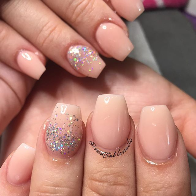 Insatiable On Instagram Short Cute And Elegant Loved This Set Using Nsiacrylic Roseblush With Perfectmatchpolish Hologramdiamond For Shimmereffect Coffin Shape Nails Coffin Nails Designs Short Acrylic Nails