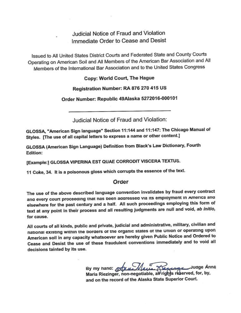 Judicial Notice of Fraud and Violation Immediate Order to Cease - cease and desist template
