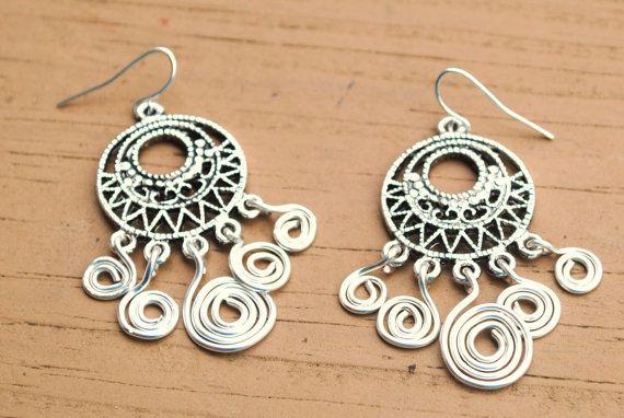 Wire Wrapped Chandelier Earrings Bohemian Spiral by KissMeKrafty, $10.00