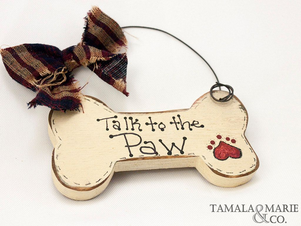 Hand Painted Dog Bone Shaped Wooden