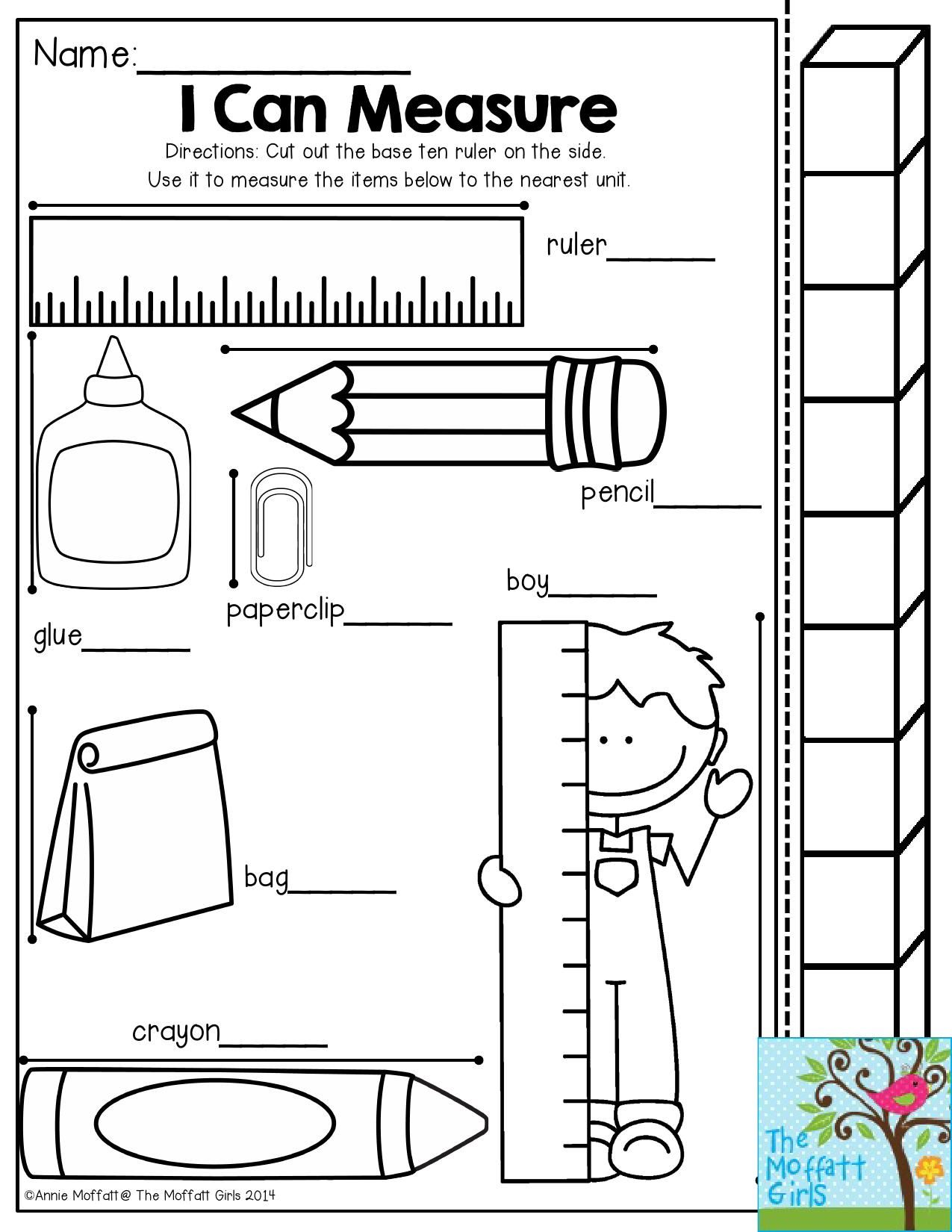 Worksheet Kindergarten Measurement i can measure have students use the measuring stick to see how many cubes each