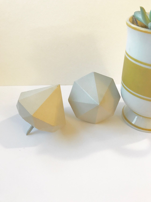 Modern Kitchen Knobs modern diamond cement oversized cabinet knobs, geometric knob