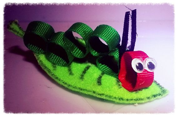 Hungry Caterpillar Hairbow by LittleSquashCrafts on Etsy