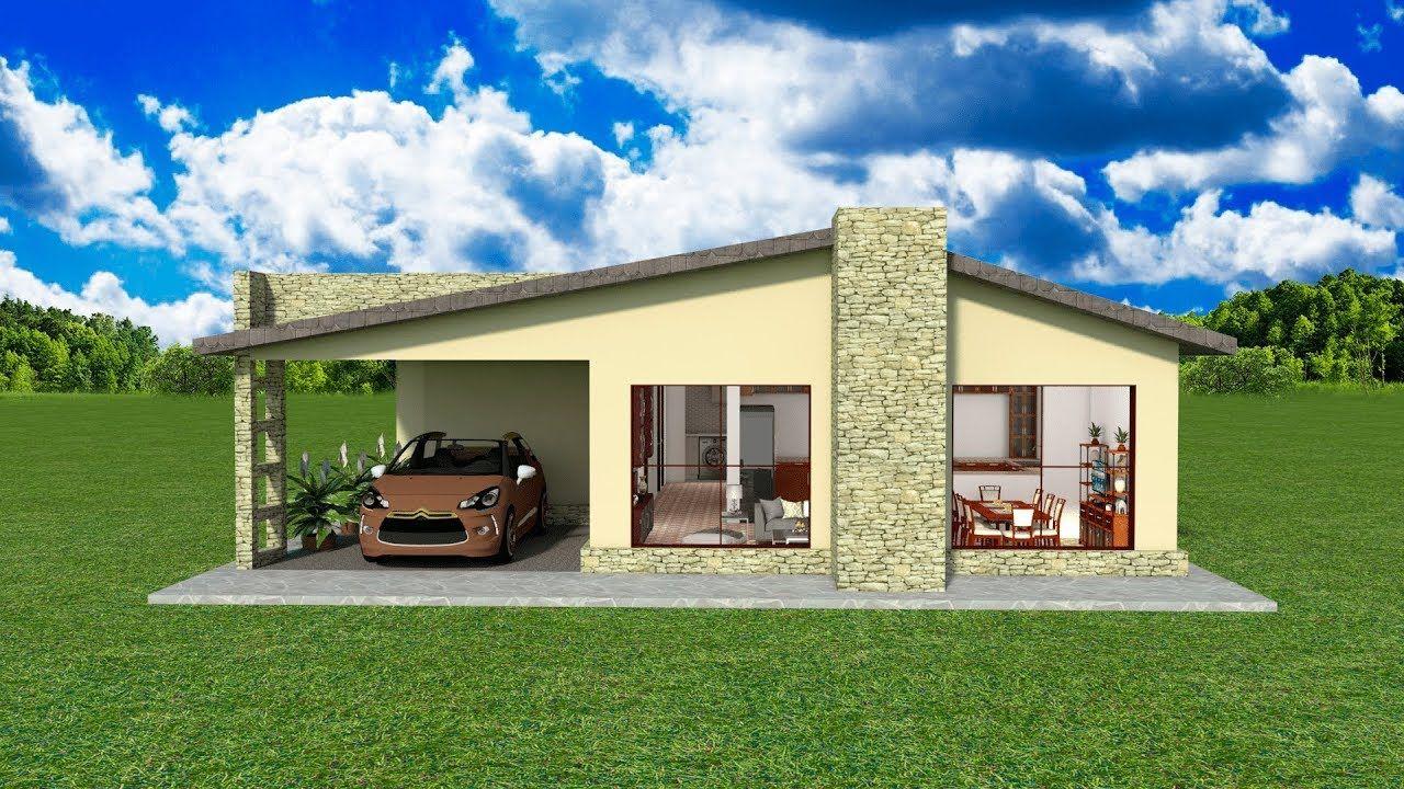 Planos Diseños Casa un piso sencilla 3 cuartos garaje ...