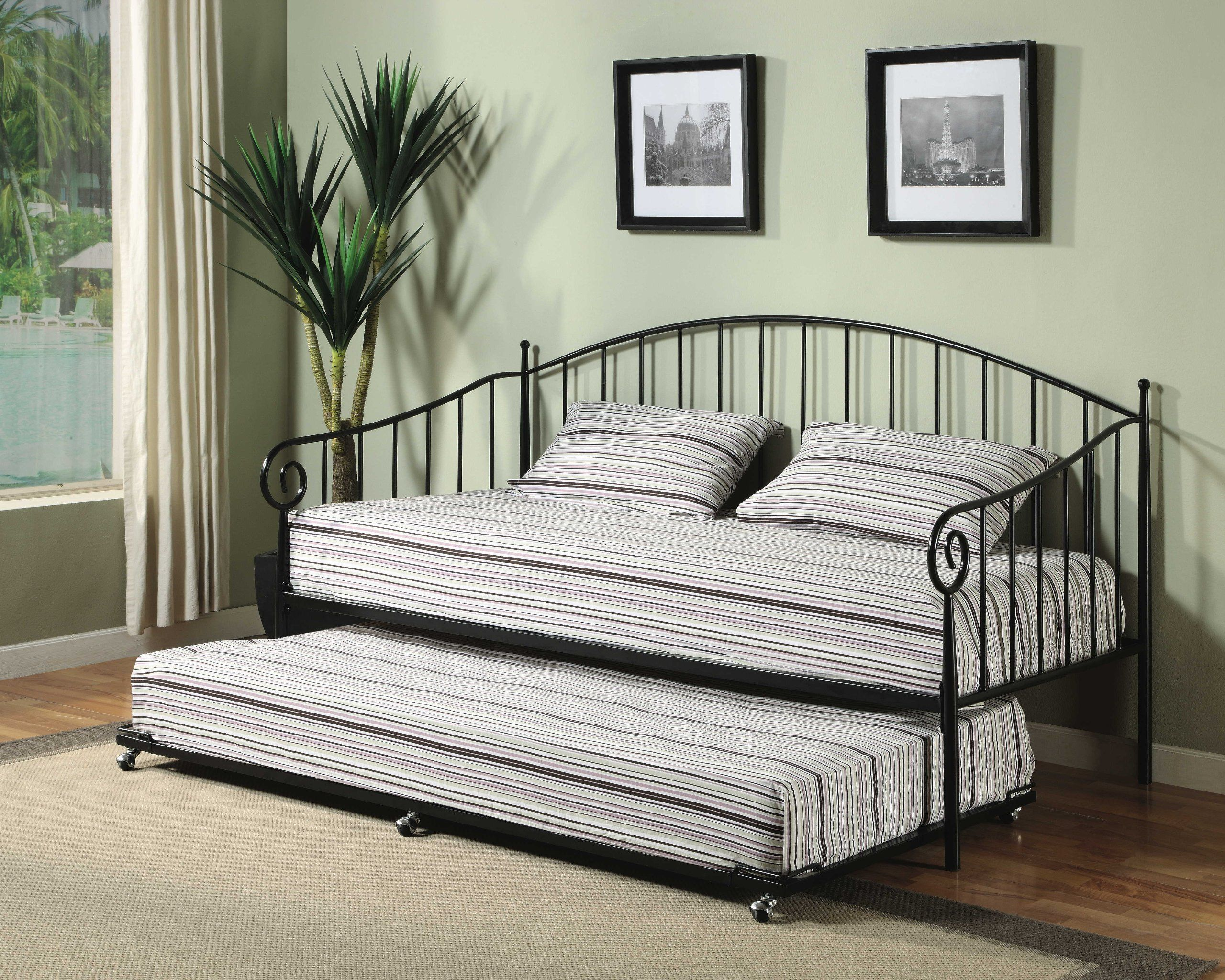 Amazon Com Matt Black Metal Twin Size Day Bed Daybed Frame With Trundle Home Kitchen Metal Daybed Daybed Bedding Daybed Design