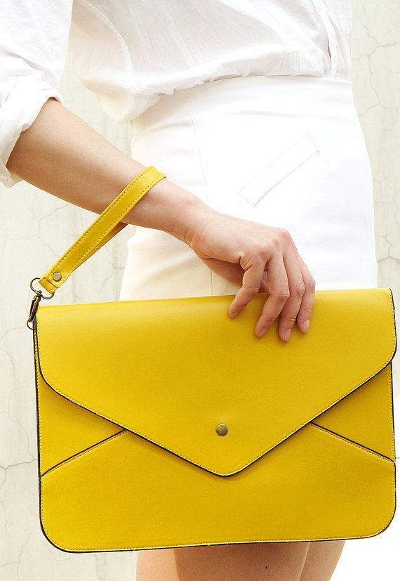 24dd9ef3e97 Oversize Vegan Leather Envelope Clutch - Yellow Purse Bag Handbag ...