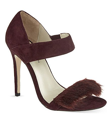 KAREN MILLEN - Faux fur trim heeled sandals
