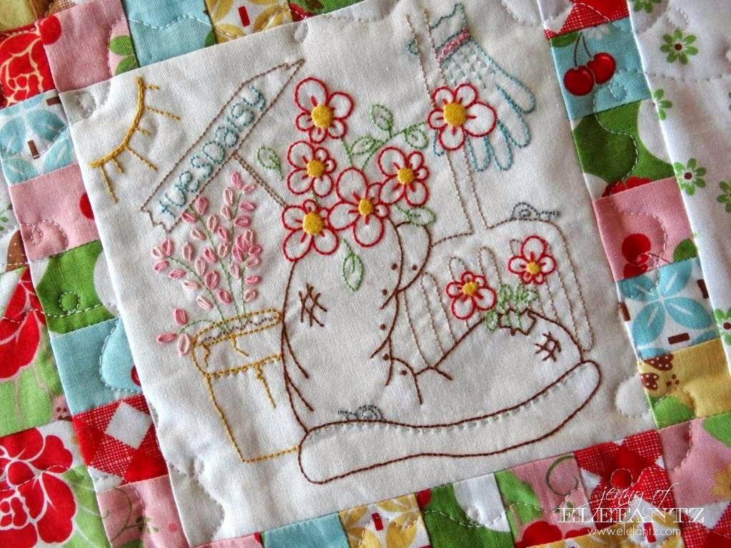 The daisy days quilt features eight sweet stitchery blocks ten