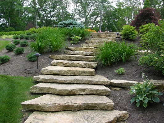 Stone garden steps landscape maintenance cincinnati for Rock stepping stones landscaping