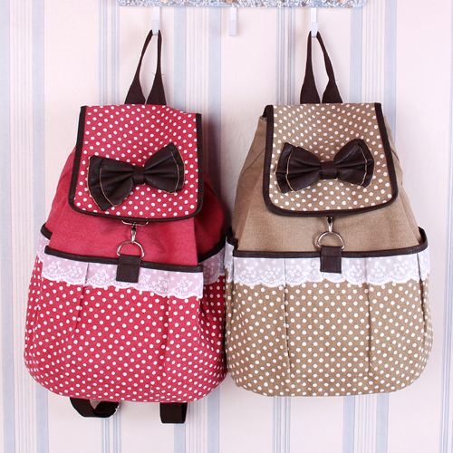 Womens Canvas Backpack Polka Dot Lace School Bag | Bags ...