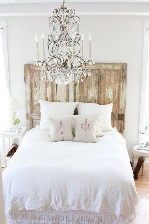 A gorgeous crystal chandelier in a rustic French bedroom. | Shabby ...