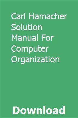 Carl Hamacher Lösungshandbuch für die Computerorganisation pdf download