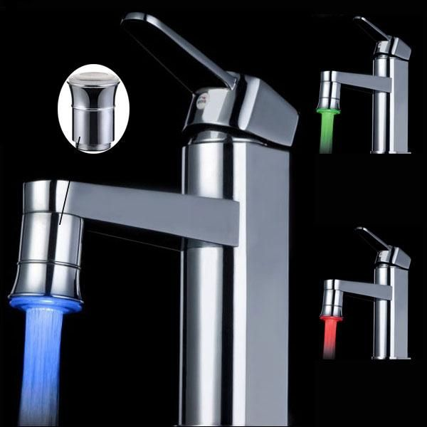 LED Full Brass Temperature Control Spontaneous Light Faucet Tap in