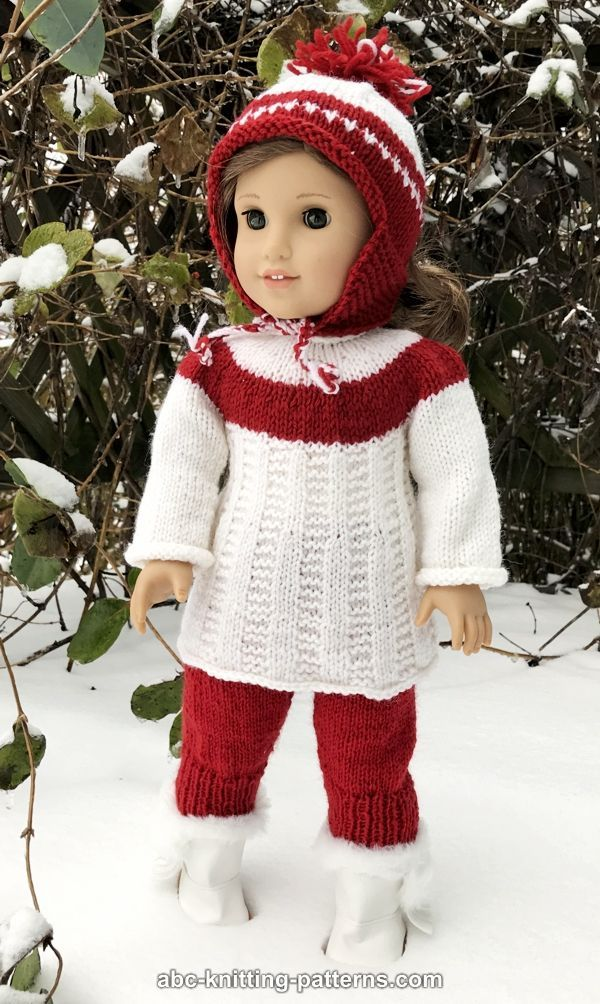 "Red White Stripe Hat /& Scarf Set Winter Coat for American Girl 18/"" Doll Clothes"