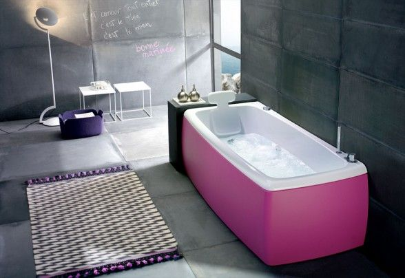 cool pink bathtub color design | pink bathrooms of my pink chick