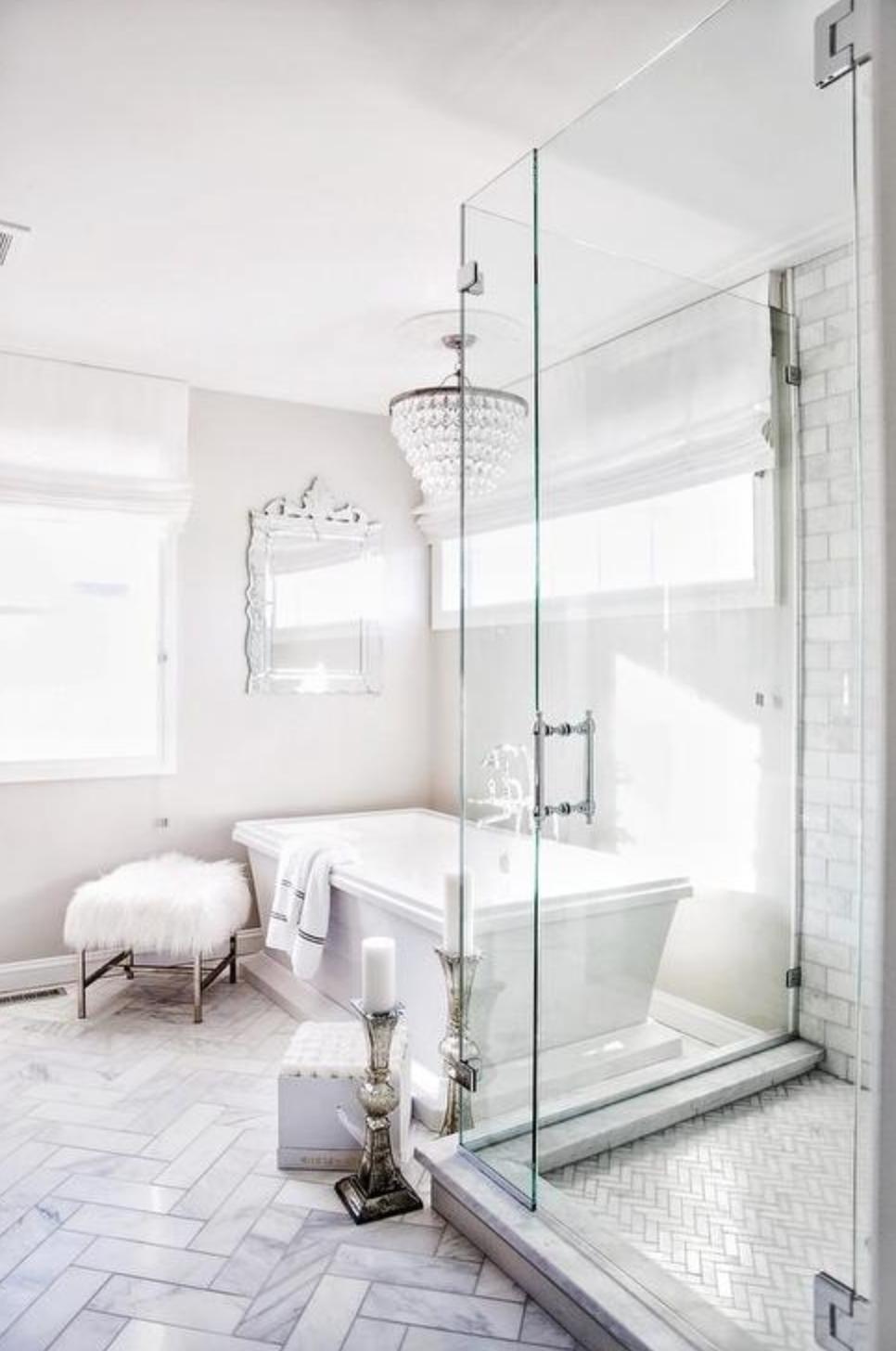 15 Most Beautiful Bathrooms On Pinterest Traditional Glam Bathroom White Marble Tile Design Bathroom Remodel Designs Bathroom Makeover Master Bathroom Makeover