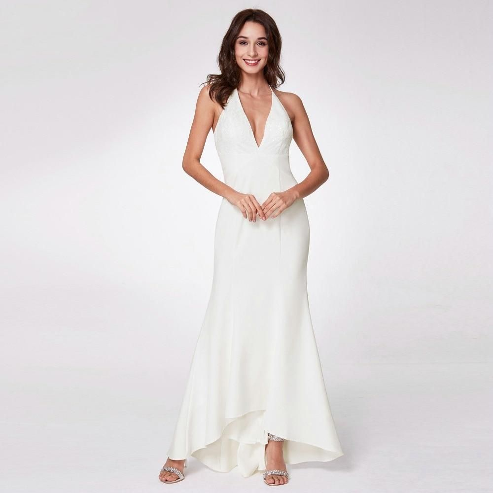 White Backless Lace Mermaid Wedding Dresses 2018 V Neck: Ever Pretty Robe De Mariage Vintage Mermaid Wedding Dress