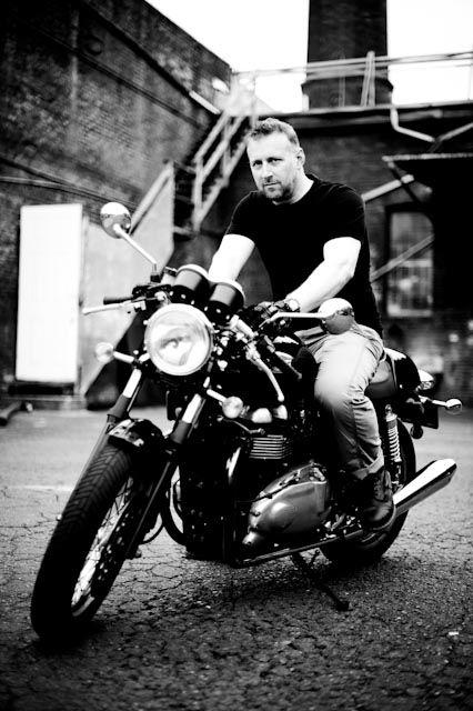 """me and my ride:  truimph thruxton,  aka """"emma peel"""""""