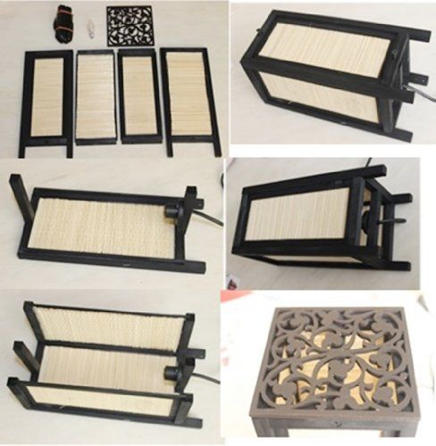 Thai vintage diy handmade asian oriental japanese bamboo for Japanese bedside table