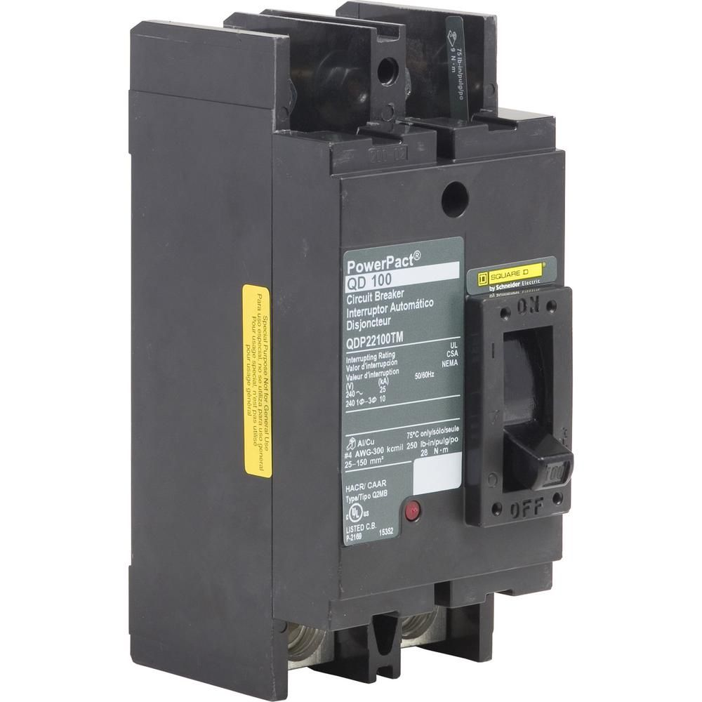 Square D Powerpact 100 Amp 25ka 2 Pole Q Frame Molded Case Circuit