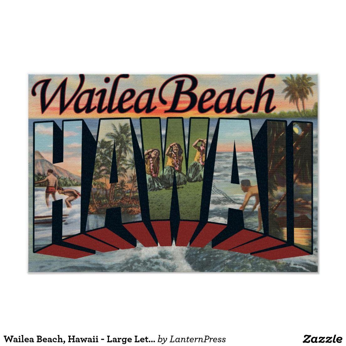 Wailea Beach, Hawaii Large Letter Scenes Poster Zazzle