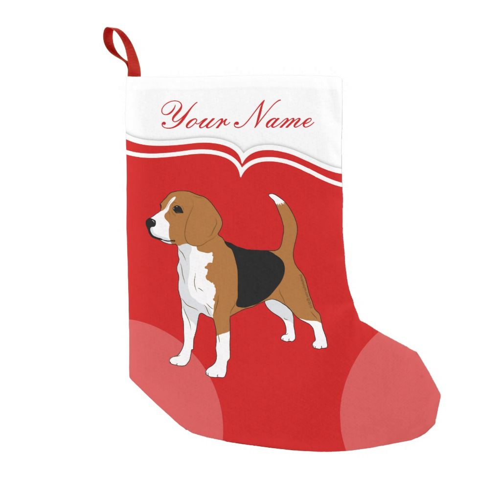 Beagle Dog Red Solid Personalized Small Christmas Stocking