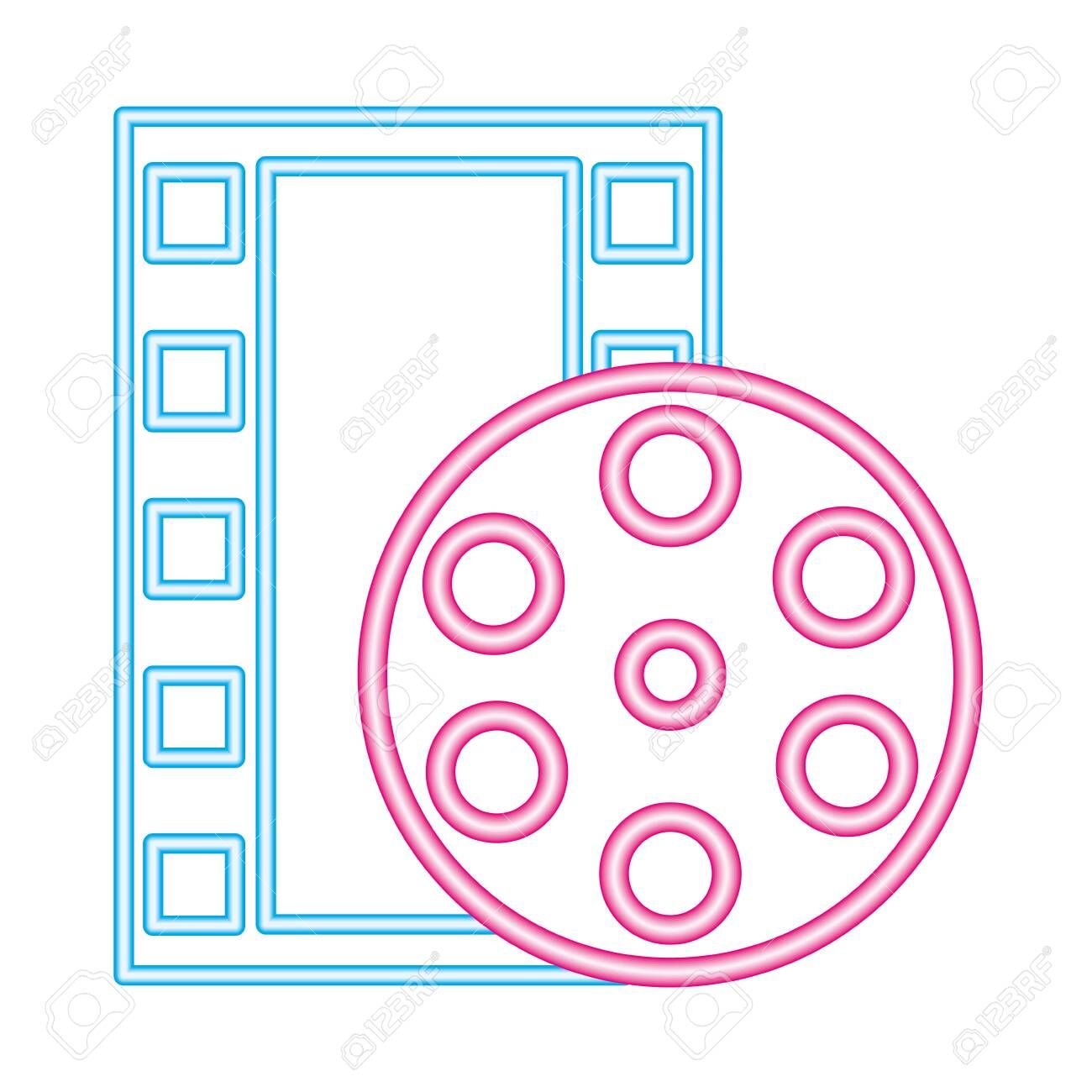strip film reel cinema movie neon on white background vector illustration illustration affiliate cine material design background reel cinema cinema movies pinterest